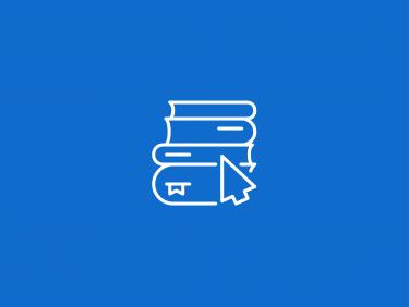 Bücherstapel mit Mauszeiger (Icon)