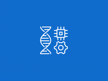 DNA double helix with a microchip and cog (Icon)