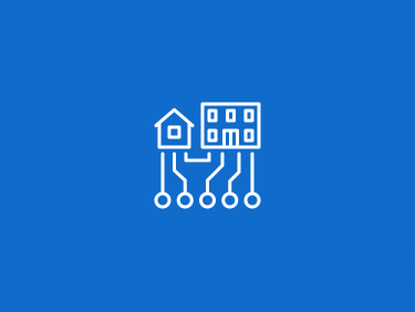 House and office building in a network group (Icon)