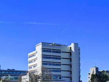 Außensicht des URZ-Gebäudes INF330 im Frühling