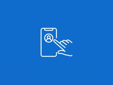 Hand bedient ein Smartphone mit Personenbild (Icon)